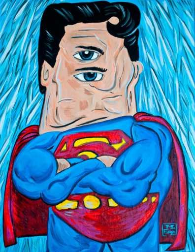 superman picasso drawing