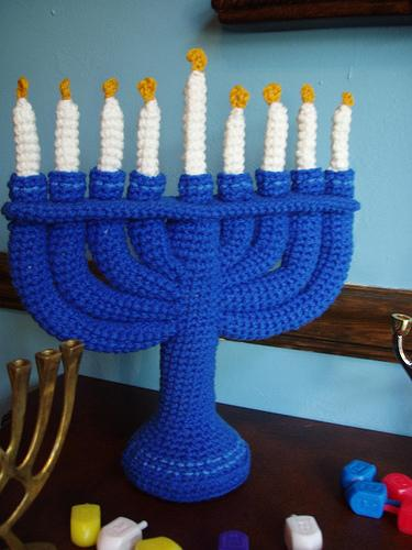 crocheted menorah
