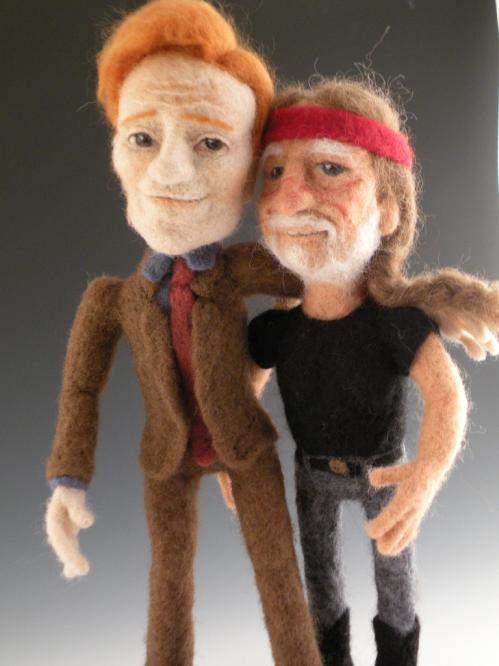 conan obrien willie nelson felt dolls
