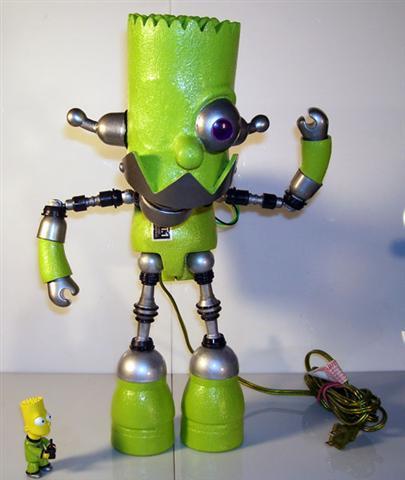 bart simpson green robot lamp