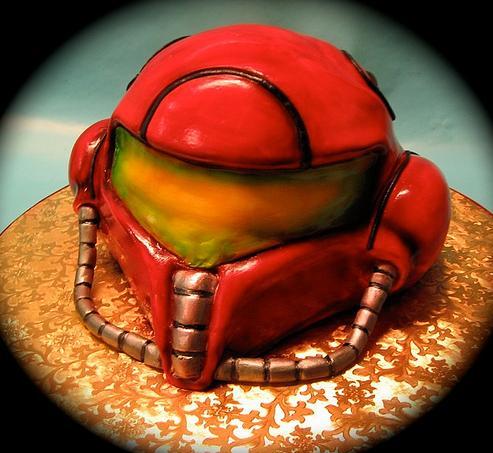 metroid helmet cake
