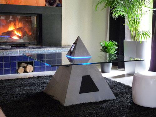 Pyramid Shaped Coffee Table-cum-iPod Dock