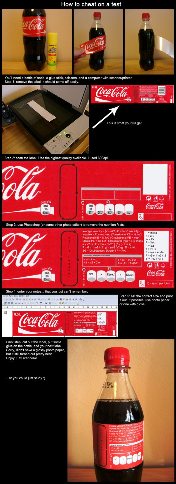how to cheat on a test with a coke bottle