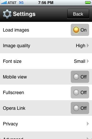 opera mini 5 settings iphone