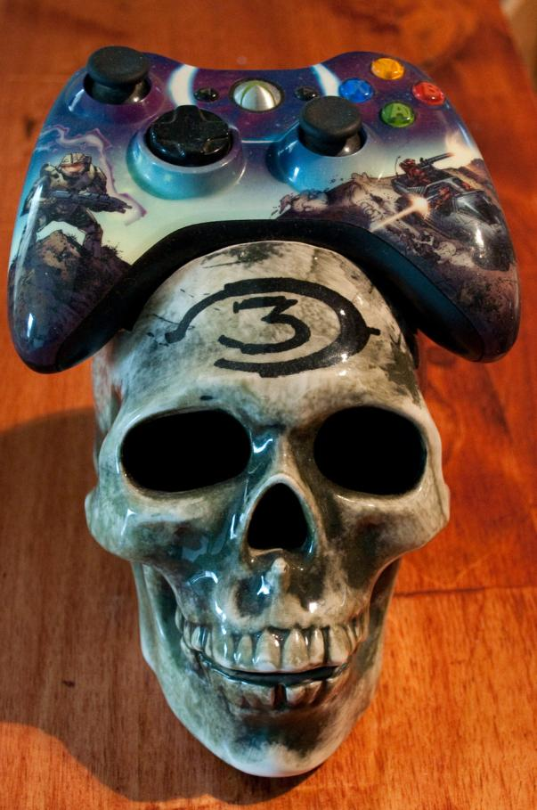 skull xbox 360 controller cradle image