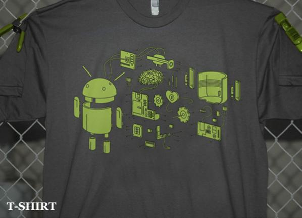 Android Exposed Right Onto an Exploded T-shirt