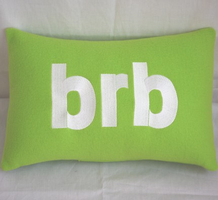 brb text talk pillow design image