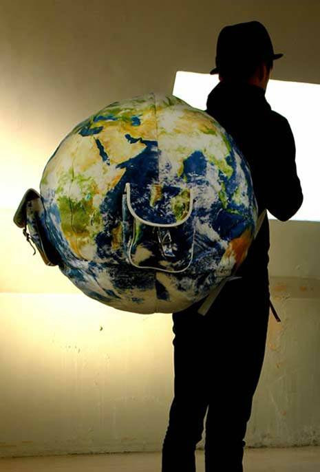earth globe backpack geek theme