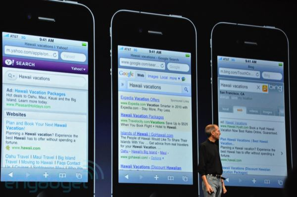 iPhone 4 search engines
