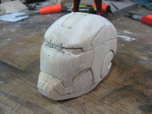 iron man carved helmet art