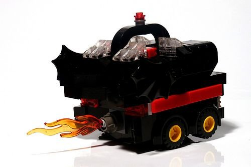 lego batmobile boxcar art