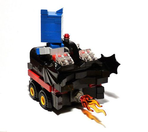 lego boxcar batmobile art