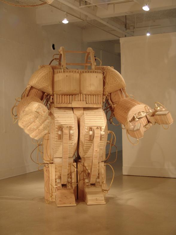 wooden robot suit image