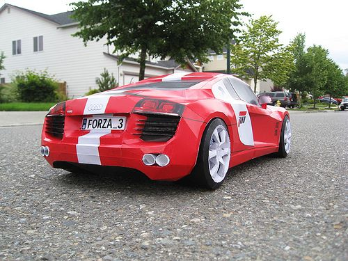 Audi R8 for video game - Back View