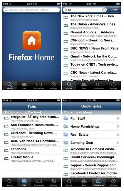 Firefox Home Screen Shots