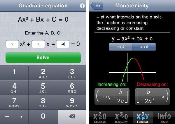 iPhone App Quadratic Equation