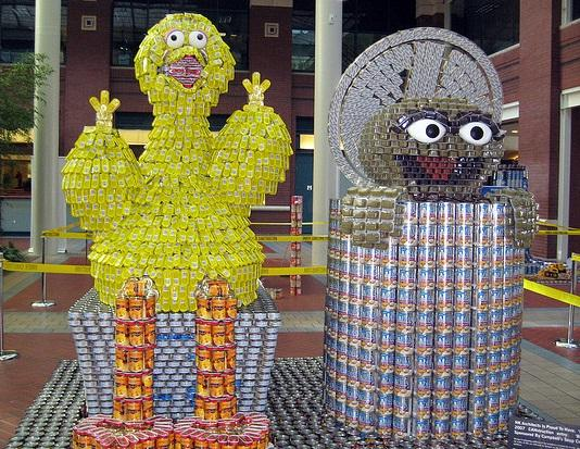 big bird oscar the grouch canstruction artwork