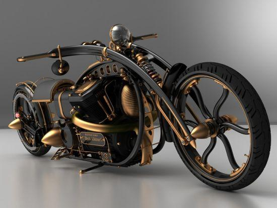 black widow steampunk chopper mod design 1