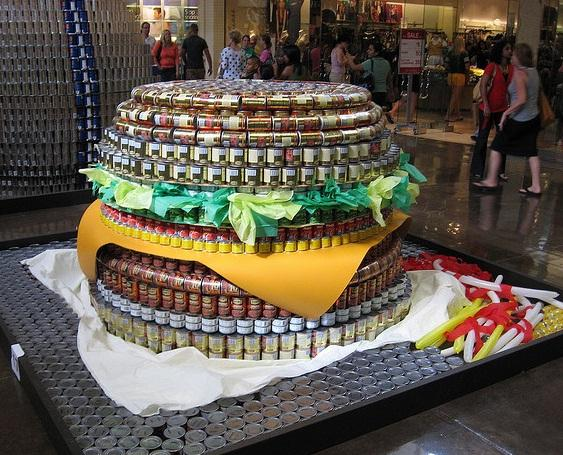 hamburger canstruction artwork