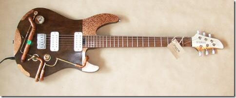 Steampunk Guitar Copper Flower