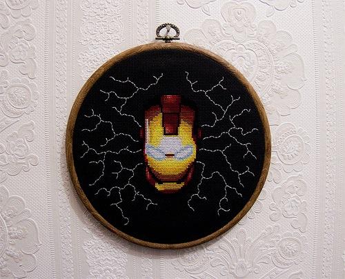 Cross Stitch Glow in the dark Iron Man