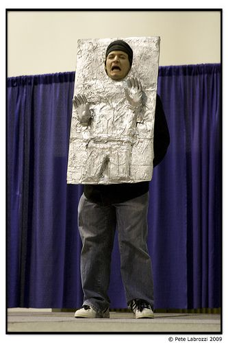 bizarre star wars costumes han solo frozen in carbonite costume 1
