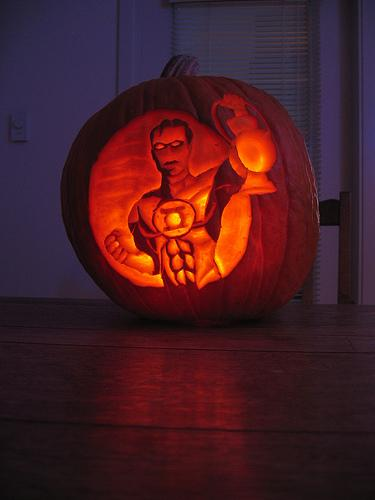 halloween pumpkin carvings artwork green lantern