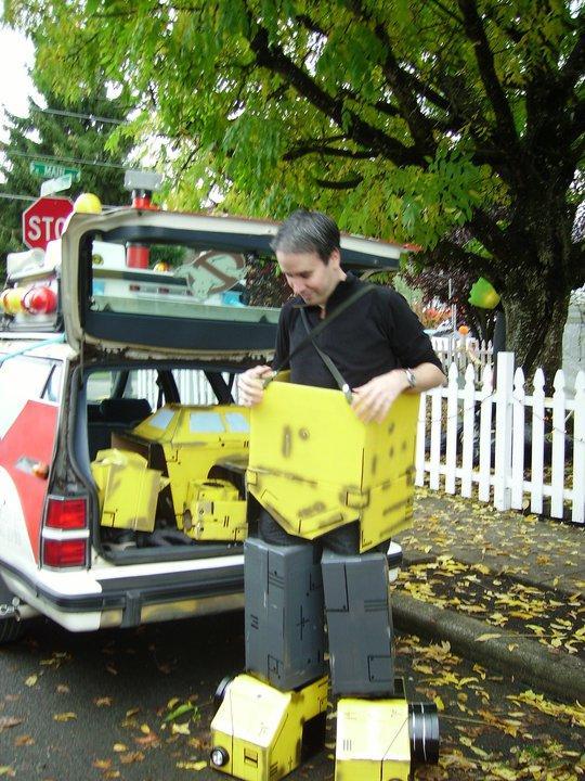 bumblebee transformer cardboard costume halloween